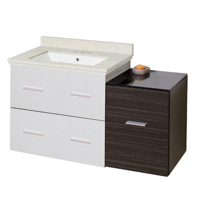Kyra Modern 38 Rectangle Glazed Single Bathroom Vanity Set Sink Finish: White, Faucet Mount: 4 Centers