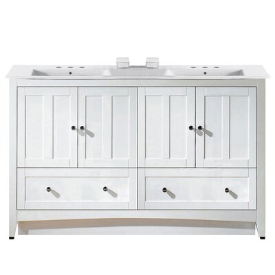 Artic 59 Single Bathroom Vanity Set Base Finish: White, Faucet Mount: 8 Centers