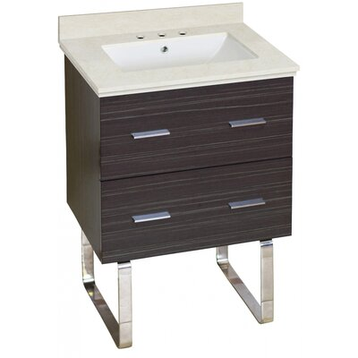 Phoebe Marble Top Drilling Floor Mount 24 Single Bathroom Vanity Set Top Finish: Beige, Sink Finish: White, Faucet Mount: 8 Centers