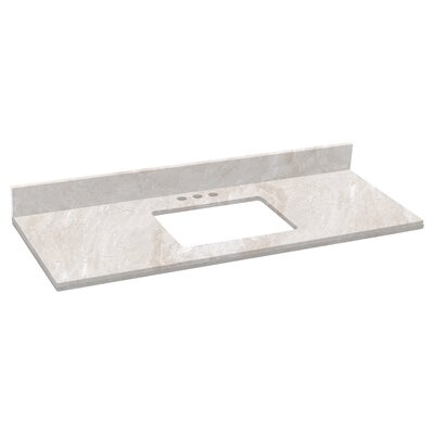 Shaker Quartz 48 Single Bathroom Vanity Top Top Finish: Beige, Faucet Mount: 4 Centers