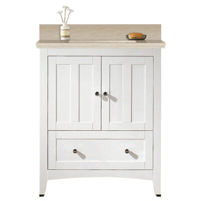 Artic Modern 31 Single Bathroom Vanity Set Base Finish: White, Sink Finish: Biscuit, Faucet Mount: 8 Centers