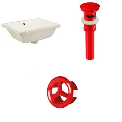 Rectangular Undermount Bathroom Sink with Overflow Drain Finish: Red