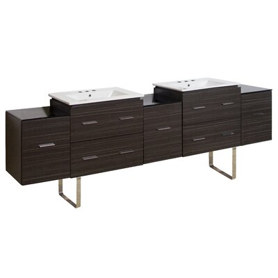 Kyra Modern 89 Double Bathroom Vanity with 7 Drawer Faucet Mount: 8 Centers