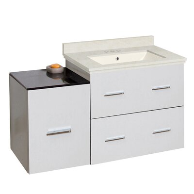 Phoebe Drilling Wall Mount 38 Single Bathroom Vanity Set Base Finish: White, Top Finish: Beige, Sink Finish: Biscuit
