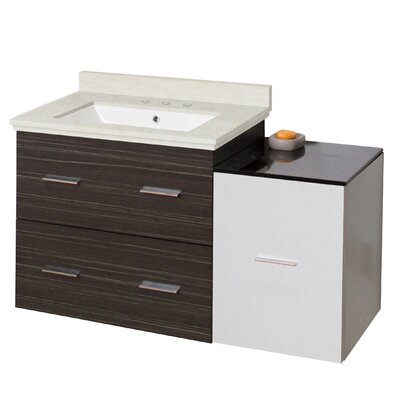 Phoebe Drilling Wall Mount 38 Modern Single Bathroom Vanity Set Top Finish: Beige, Sink Finish: White