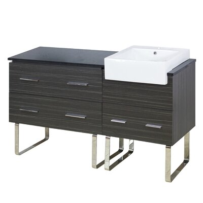 Xena Farmhouse Plywood-Melamine 58 Single Bathroom Vanity Base Base Finish: Dawn Gray