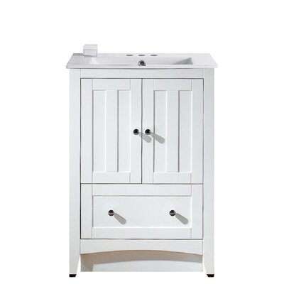 Artic 24 Plywood-veneer Single Bathroom Vanity Set Base Finish: White, Faucet Mount: 4 Centers