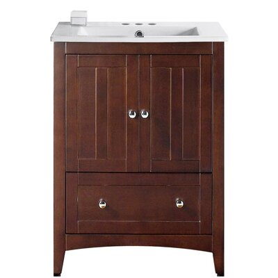Artic 30 Single Bathroom Vanity Set Base Finish: Walnut, Faucet Mount: 4 Centers