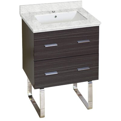 Phoebe Marble Top Drilling Floor Mount 24 Single Bathroom Vanity Set Top Finish: Bianca Carara, Sink Finish: White, Faucet Mount: Single Hole