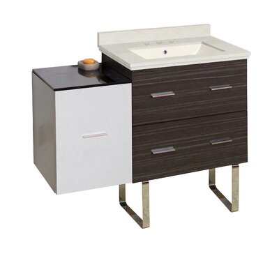 Kyra 38 Glazed Single Bathroom Vanity Set Sink Finish: Biscuit, Faucet Mount: 8 Centers