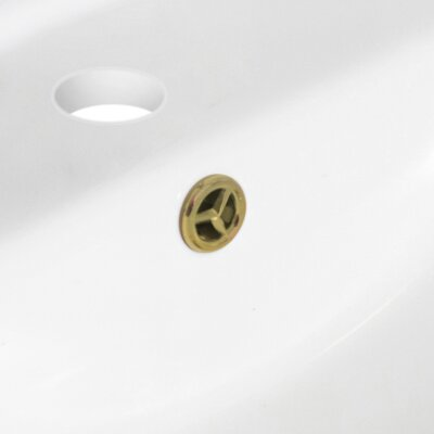 Roxy Ceramic 24 Single Bathroom Vanity Top Faucet Mount: 4 Centers, Overflow Cap Color: Gold