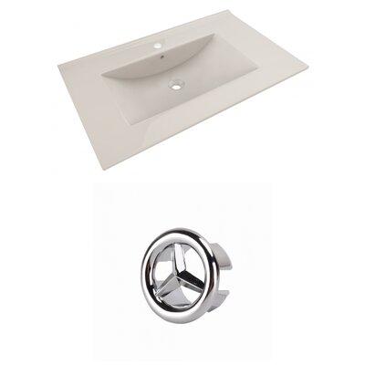 Drake Ceramic 36 Single Bathroom Vanity Top Top Finish: Biscuit, Faucet Mount: Single Hole