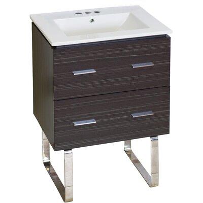 Kyra Modern 24 Single Bathroom Vanity Faucet Mount: 4 Centers