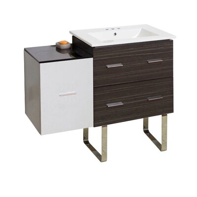 Kyra 38 Single Bathroom Vanity with 3 Drawers Faucet Mount: 4 Centers