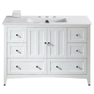 Artic Modern 48 Plywood-veneer Single Bathroom Vanity Set Base Finish: White, Faucet Mount: 8 Centers