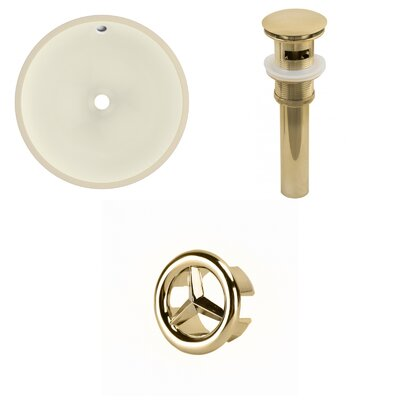 Circular Undermount Bathroom Sink with Overflow Drain Finish: Gold