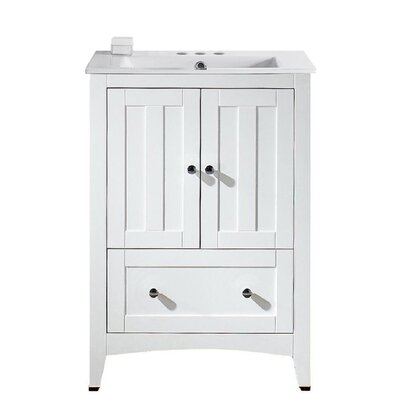Artic Modern 24 Rectangle Single Bathroom Vanity Set Base Finish: White, Faucet Mount: 4 Centers