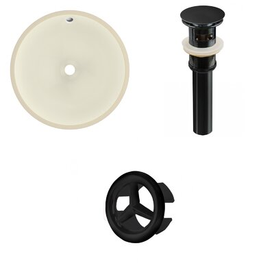 Ceramic Circular Undermount Bathroom Sink with Overflow Drain Finish: Black