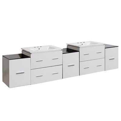 Kyra 89 Double Bathroom Vanity with 7 Drawer Faucet Mount: 8 Centers, Base Finish: White