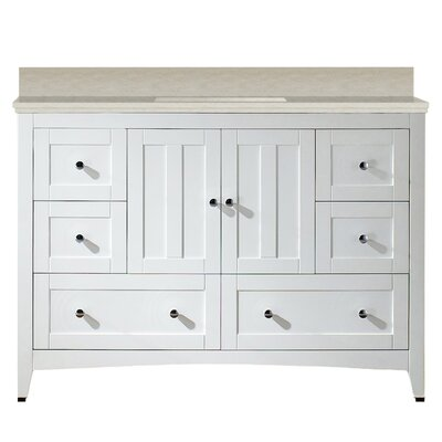 Artic 48 Single Bathroom Vanity Set Base Finish: White, Sink Finish: White, Faucet Mount: 4 Centers