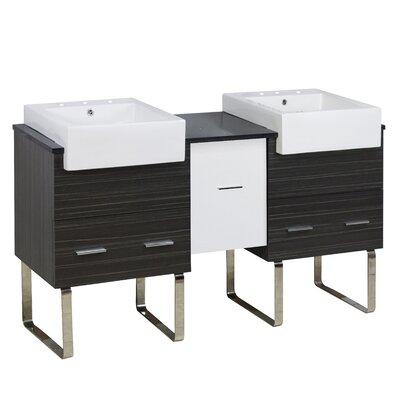 Xena Farmhouse Plywood-Melamine 60 Double Bathroom Vanity Base Base Finish: White/Dawn Gray