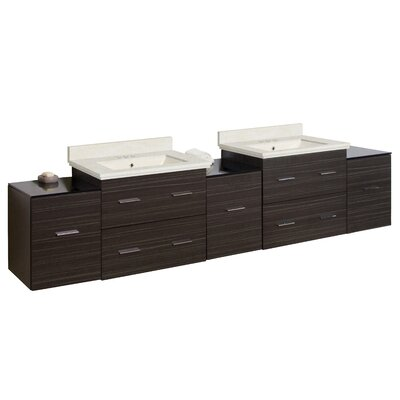 Phoebe Drilling Wall Mount 89 Double Bathroom Vanity Set with Drawers Base Finish: White/Dawn Gray, Top Finish: Dark Beige, Sink Finish: White