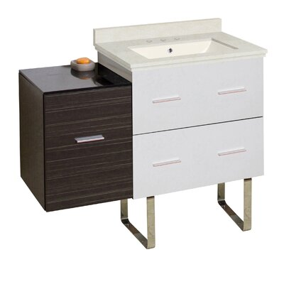 Phoebe 3 Drawers Drilling Floor Mount 38 Single Rectangle Bathroom Vanity Set Top Finish: Beige, Sink Finish: Biscuit