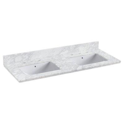 Shaker Quartz 48 Single Bathroom Vanity Top Faucet Mount: 8 Centers, Top Finish: Bianca Carara