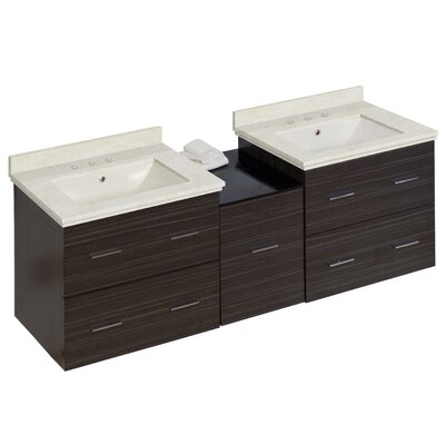Kyra 62 Rectangle Double Bathroom Vanity Set with Marble and Glass Top Base Finish: Dawn Gray, Sink Finish: Biscuit, Faucet Mount: 8 Centers