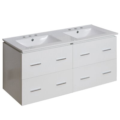 Kyra 48 Double Bathroom Vanity with Ceramic Top Faucet Mount: 8 Centers