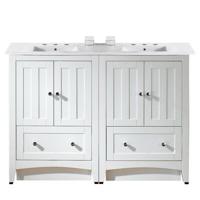 Artic 48 Double Bathroom Vanity Set Base Finish: White, Faucet Mount: 8 Centers
