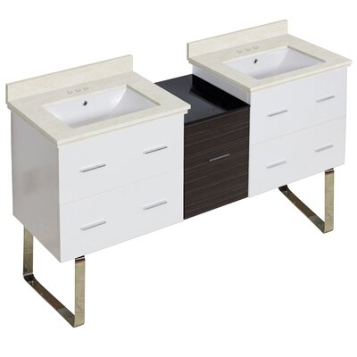 Kyra Modern 62 Double Bathroom Vanity Set Sink Finish: White, Faucet Mount: 4 Centers