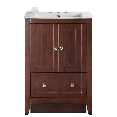 Artic 24 Plywood-veneer Single Bathroom Vanity Set Faucet Mount: 8 Centers, Base Finish: Walnut