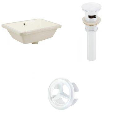 Ceramic Rectangular Undermount Bathroom Sink with Overflow Drain Finish: White