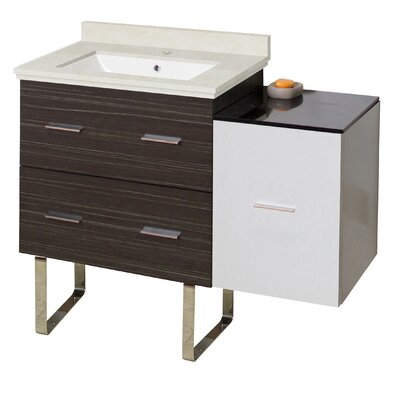 Kyra Modern 38 Single Bathroom Vanity Set with 3 Drawers Sink Finish: White, Faucet Mount: Single Hole