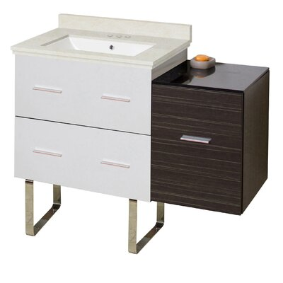 Kyra Modern 38 Rectangle Glazed Single Bathroom Vanity Set with 3 Drawers Sink Finish: White, Faucet Mount: 4 Centers