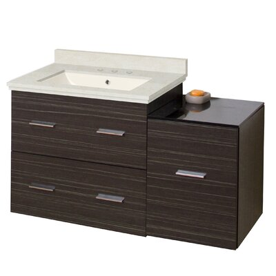 Kyra 38 Rectangle Plywood Single Bathroom Vanity Set Sink Finish: Biscuit, Faucet Mount: 8 Centers