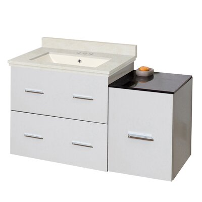 Phoebe Drilling Wall Mount 38 Modern Single Bathroom Vanity Set Base Finish: White, Top Finish: Beige, Sink Finish: Biscuit