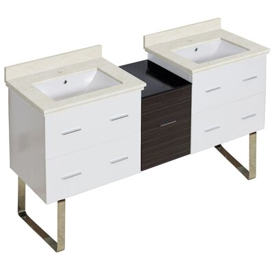 Kyra Modern 62 Double Bathroom Vanity Set Sink Finish: White, Faucet Mount: Single Hole