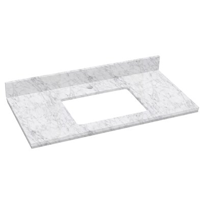 Elite Marble 36 Single Bathroom Vanity Top Top Finish: Bianca Carara, Faucet Mount: Single Hole