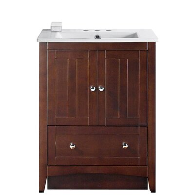 Artic Modern 30 Single Bathroom Vanity Set Base Finish: Walnut, Faucet Mount: 8 Centers