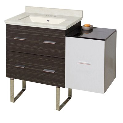 Phoebe Drilling 38 Single Bathroom Vanity Set Base Finish: White/Dawn Gray, Top Finish: Beige, Sink Finish: Biscuit