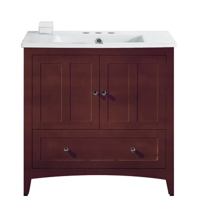 Artic 36 Rectangle Single Bathroom Vanity Set Base Finish: Walnut, Faucet Mount: 4 Centers