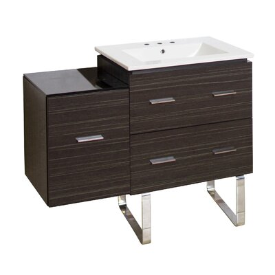 Kyra Modern 38 Rectangle Single Bathroom Vanity Base Finish: Dawn Gray, Faucet Mount: 8 Centers