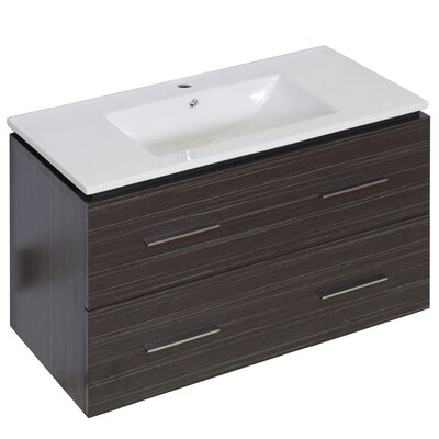Kyra Modern 36 Rectangle Single Bathroom Vanity Faucet Mount: Single Hole