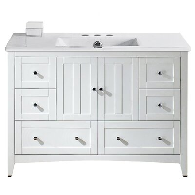 Artic Modern 48 Plywood-veneer Single Bathroom Vanity Set Base Finish: White, Faucet Mount: 4 Centers