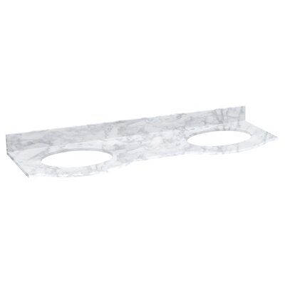Tiffany Marble 62 Double Bathroom Vanity Top Top Finish: Bianca Carara, Faucet Mount: 8 Centers