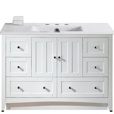 Artic Modern 48 Rectangle Single Bathroom Vanity Set Base Finish: White, Faucet Mount: 8 Centers