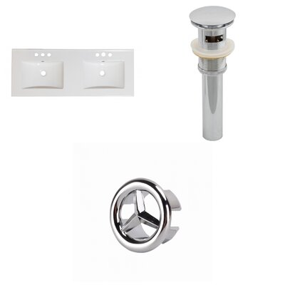 Xena Ceramic 59 Single Bathroom Vanity Top Faucet Mount: 4 Centers