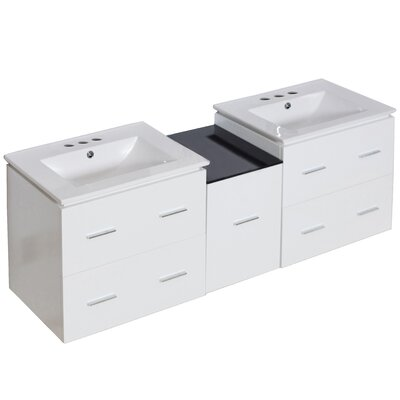 Kyra 62 Double Bathroom Vanity with 5 Drawers Base Finish: White, Faucet Mount: 4 Centers